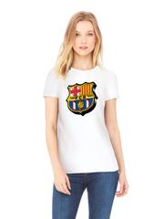 Футболка с принтом FC Barcelona (ФК Барселона) белая w002