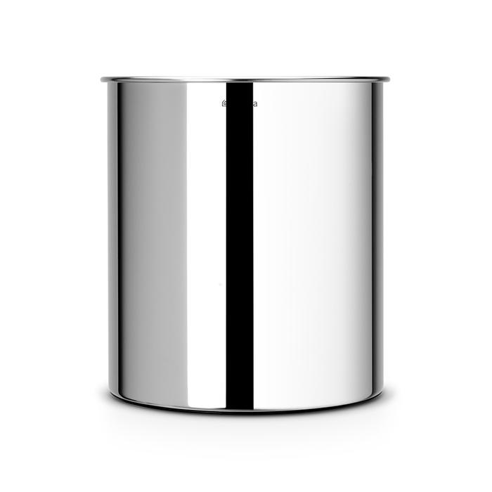 Корзина для бумаг (7 л), Стальной полированный, арт. 181207 - фото 1