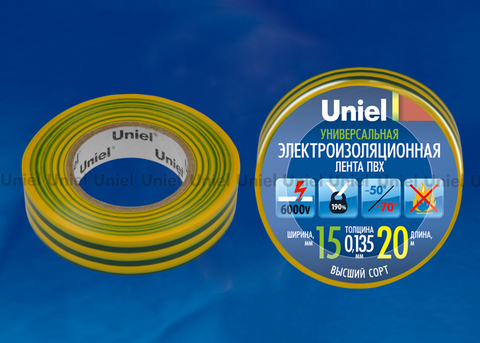 UIT-135P 20/15/01 YGR Изоляционная лента Uniel 20м, 15мм, 0,135мм, 1шт, цвет Желто-Зеленый
