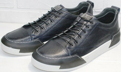 Синие кожаные кроссовки кроссовки для повседневной носки мужские демисезонные Luciano Bellini C6401 TK Blue.