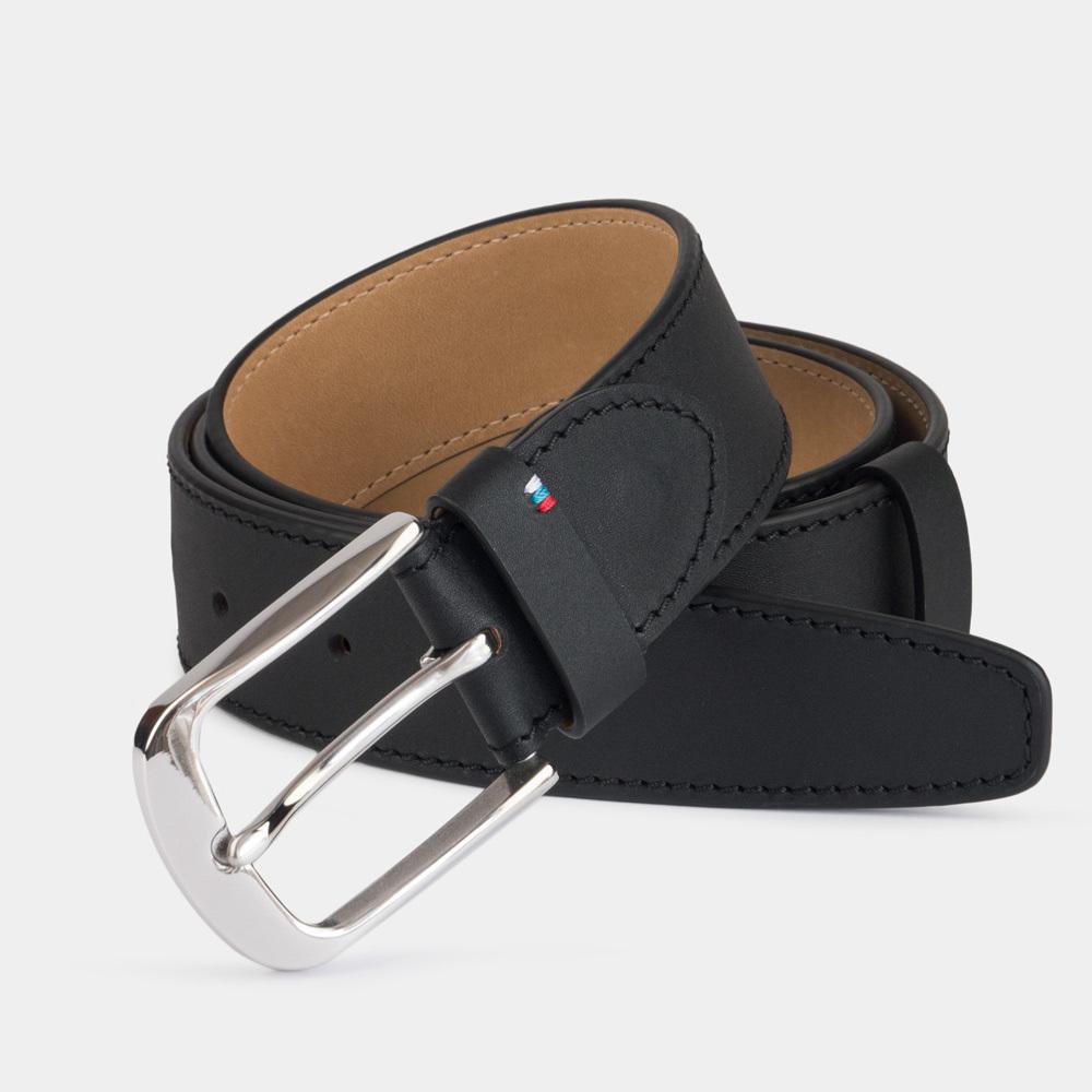 Ремень мужской кожаный из теленка черного цвета для джинсов ширина 40мм пряжка Сталь