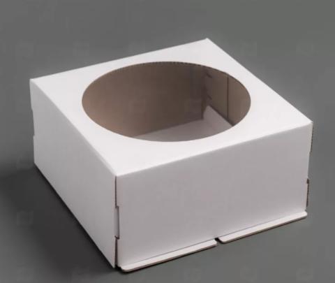 Коробка для торта с окном, 24*24*12см (белая)