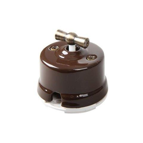 Выключатель двухклавишный, для наружного монтажа. Цвет Коричневый. Salvador. OP21BR