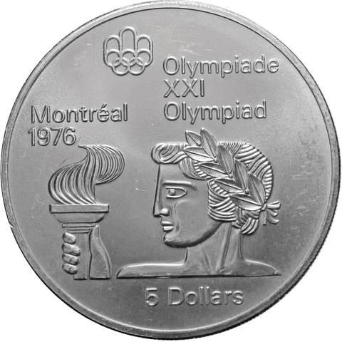 5 долларов. XXI летние Олимпийские Игры, Монреаль 1976 - Атлет с факелом. Канада. Серебро. 1974 г. AU