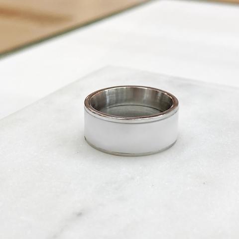 Кольцо Керамика без декора белый (сталь)