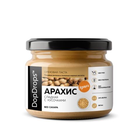 DopDrops Паста Арахисовая Кранч Сладкая [без сахара], 250г