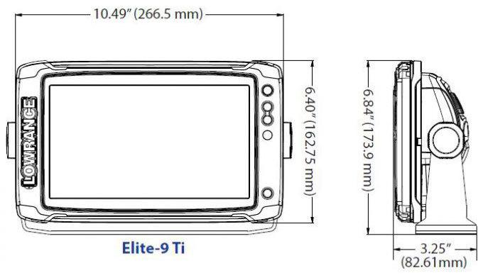 размеры lowrance Elite-9 Ti
