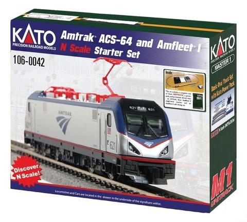 Стартовый набор Kato Amtrak ACS-64 Amfleet