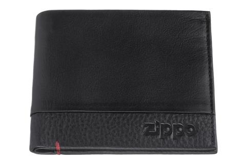 Портмоне Zippo с защитой от сканирования RFID, черное, натуральная кожа, 10,5×1,5×9 см