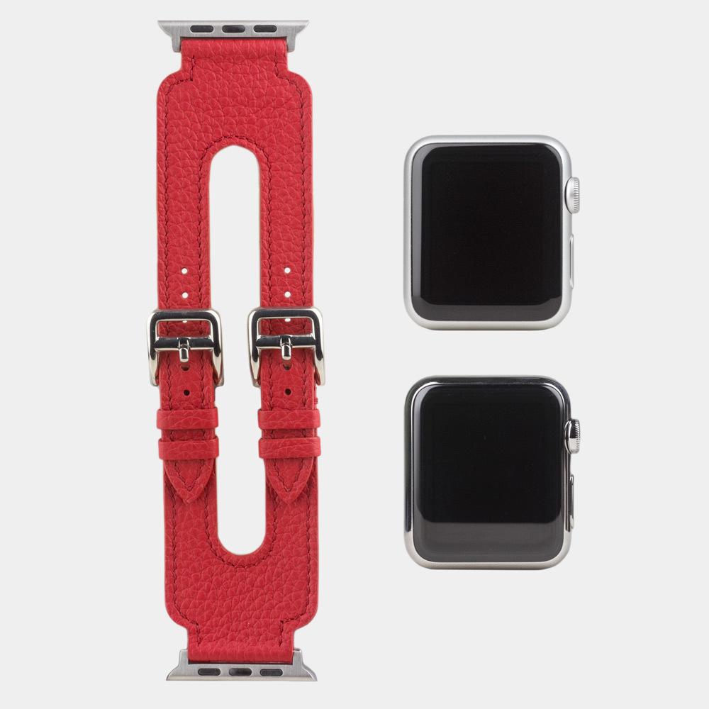 Ремешок для Apple Watch 42мм ST Double Buckle из натуральной кожи теленка, красного цвета