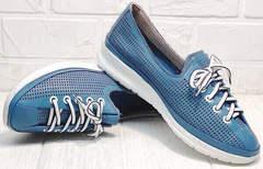 Женские летние кроссовки туфли голубого цвета стиль кэжуал Wollen P029-2096-24 Blue White.