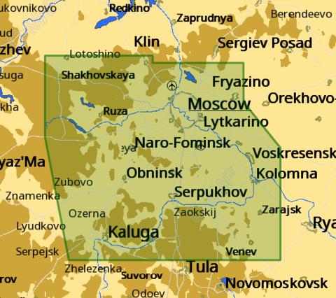 Карта C-MAP Москва-Калуга-Углич, Селигер и озёра