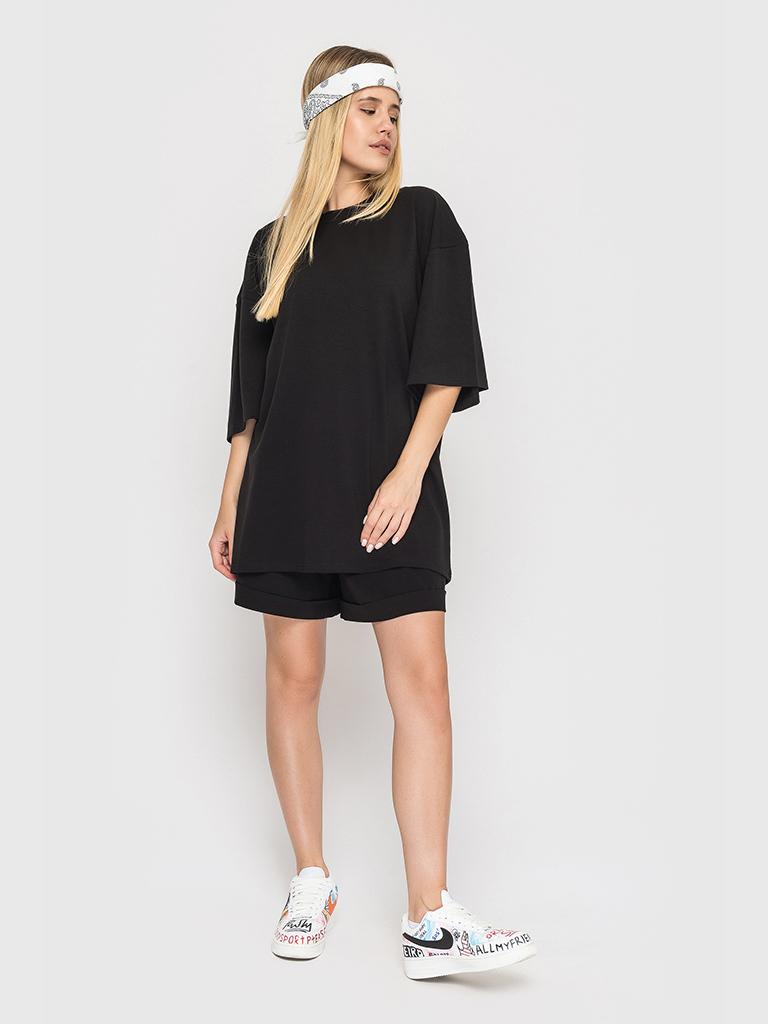 Костюм трикотажный (шорты и футболка) черный YOS от украинского бренда Your Own Style
