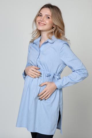 Рубашка для беременных 10921 голубой меланж