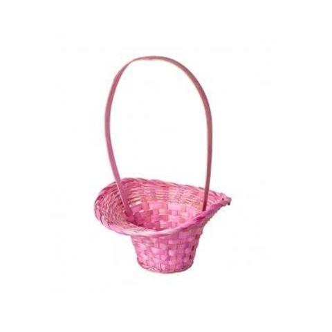 Корзина плетеная Шляпа (бамбук), D13х9хH31см, розовый