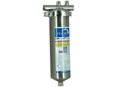 Корпус фильтра Тайфун 10SL (нерж. сталь для горячей воды со сливом, хомут, вход 1/2