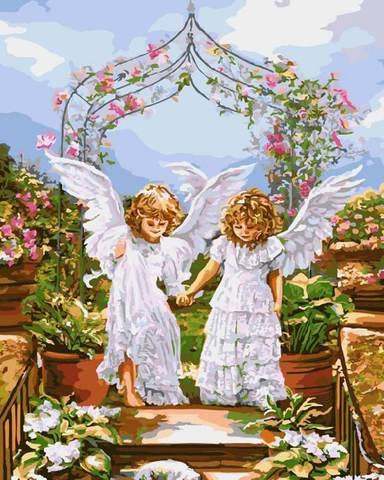 Картина раскраска по номерам 30x40 Два ангела держатся за руки