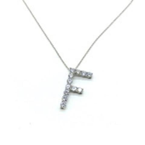 Подвеска из серебра с ослепительными цирконами  буква F