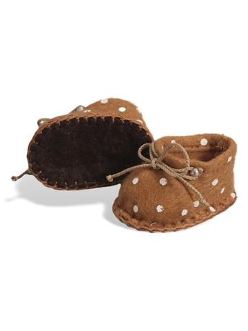 Ботиночки из фетра в горошек - Коричневый/горох. Одежда для кукол, пупсов и мягких игрушек.