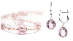 Комплект Примавера серебристо-розовый (серьги на серебре, ожерелье)