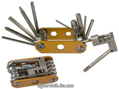 Мультитул велосипедний 14 в 1, викрутки, шестигранники, витримка ланцюга