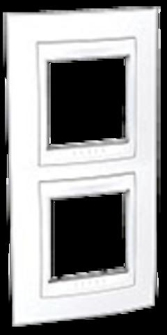 Рамка на 2 поста. Цвет вертикальная Белый. Schneider electric Unica Хамелеон. MGU6.004V.18