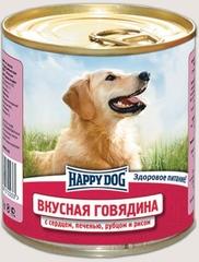 Консервы для собак Happy Dog Вкусная Говядина с сердцем, печенью, рубцом и рисом