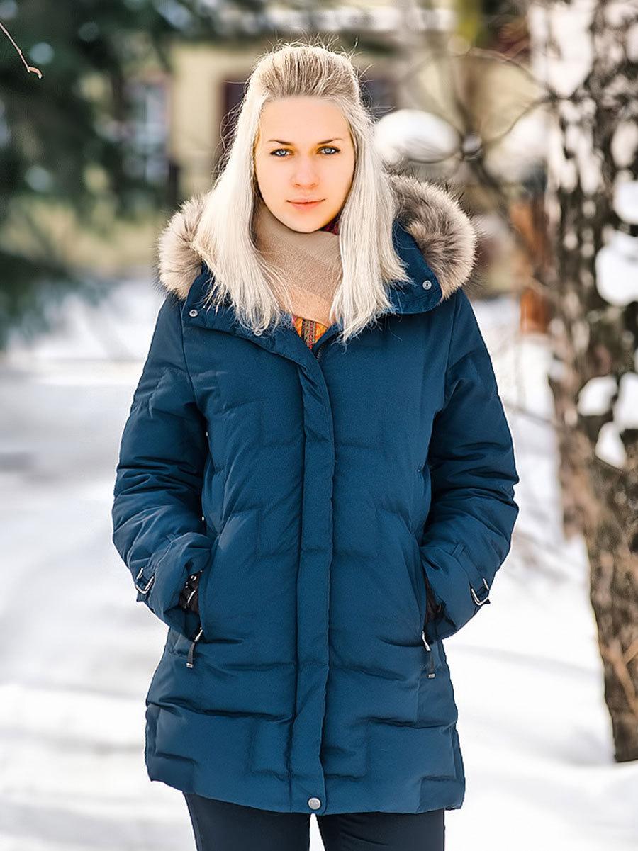 Joutsen пуховик Jenny с мехом темно-синий