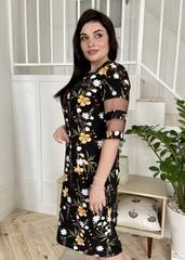 Валері. Стильна сукня plus size. Чорні квіти