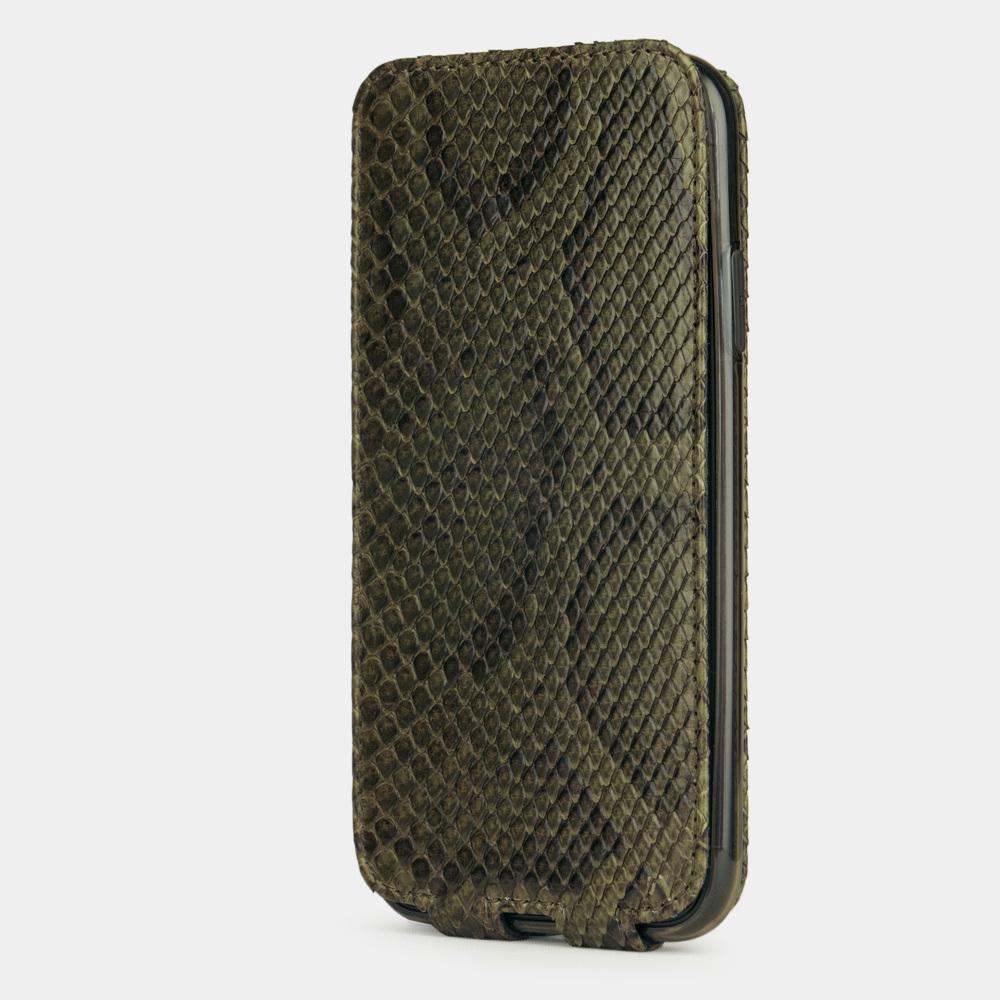 Чехол для iPhone 11 из натуральной кожи питона, зеленого цвета