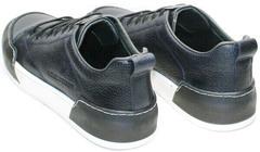 Кожаные мужские кеды кроссовки для ходьбы по городу демисезонные Luciano Bellini C6401 TK Blue.