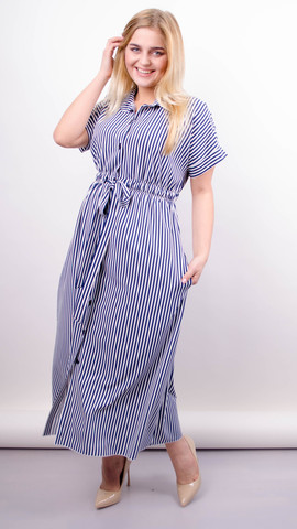 Сара. Стильное миди платье для полных. Синяя/белая полоска.