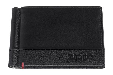 Зажим для денег Zippo с защитой от сканирования RFID, чёрный, натуральная кожа, 11x1x8,2 см