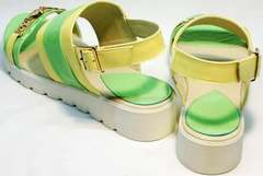 Летние кожаные босоножки без каблука Crisma 784 Yellow Green.