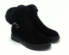 458ц Ботинки зима жен черные велюр с опушкой