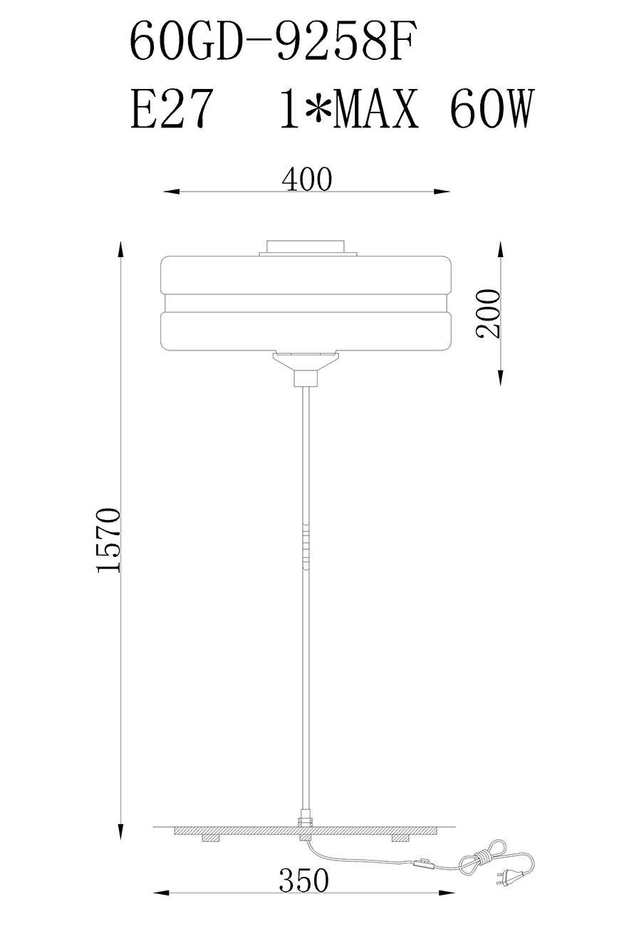 Торшер металлический с белым стеклом (60GD-9258F) Garda Decor