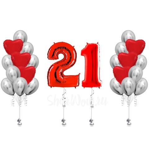 Комплект воздушных шаров на день рождения Красный и серебро