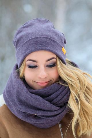 Снуд фиолетово-коричневый меланжевый из турецкой шерсти