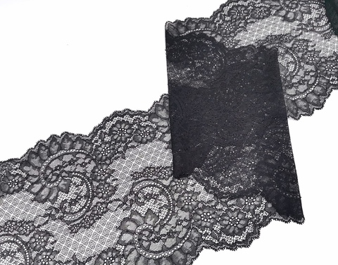Эластичное кружево, 23 см, черное, м, (Арт: EK-2271), м