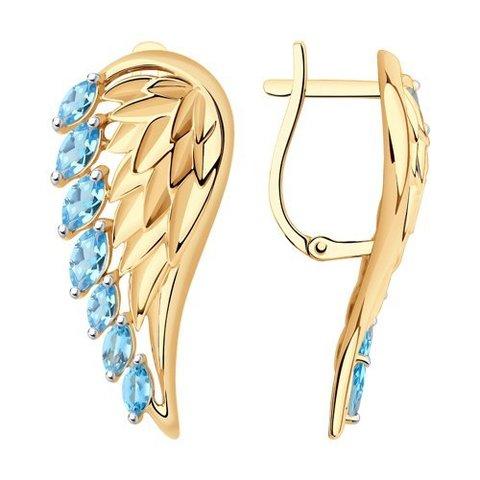 727737 - Серьги в форме крыльев  из золота с топазами