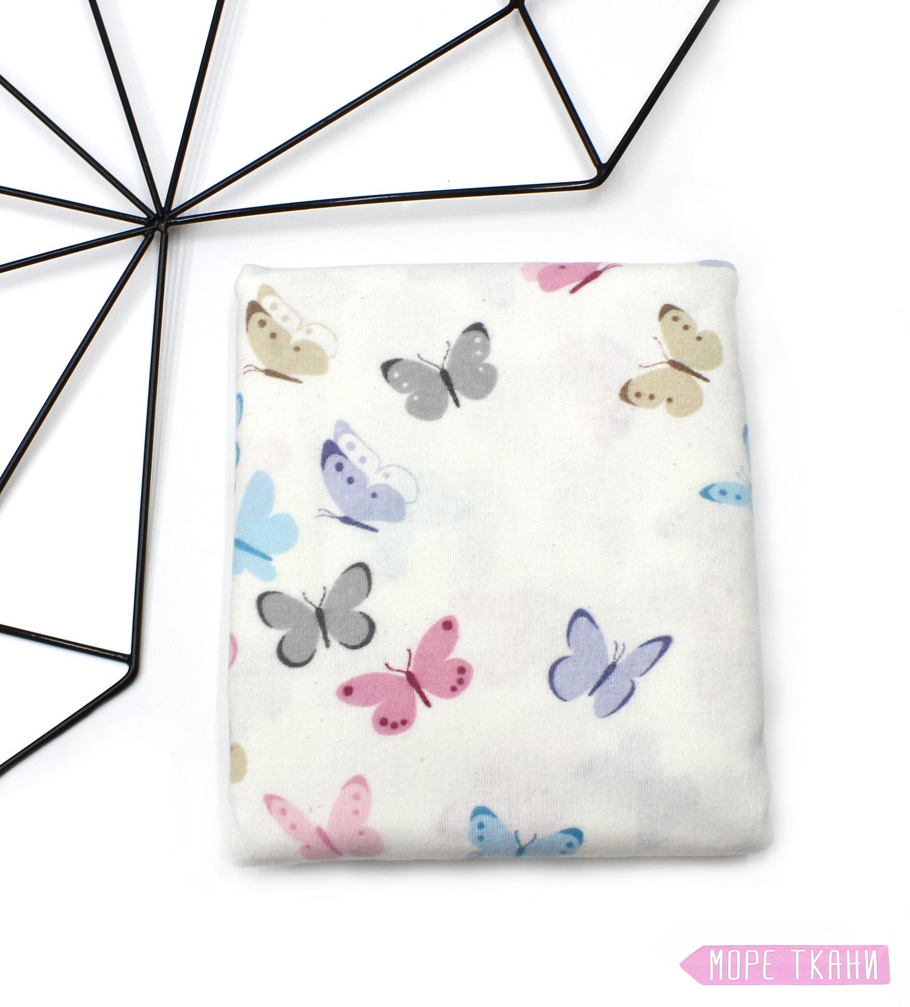 Фланелевая пеленка, бабочки(100х120)
