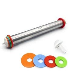 Скалка регулируемая с кольцами l=35см d=4.5см, нерж. сталь