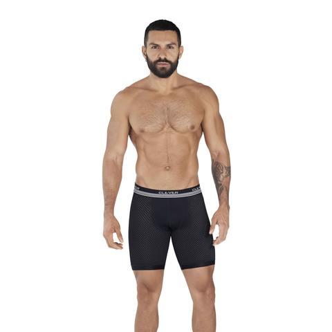 Мужские трусы боксеры удлиненные черные в сетку Clever PROCESS LONG BOXER 036511