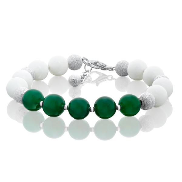 Браслет с зеленым и белым агатом