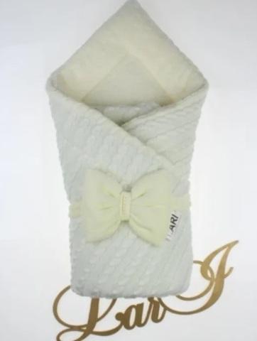 Зимний вязаный конверт одеяло Дуэт 2 (кремовый)