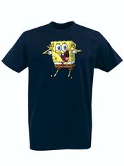Футболка с принтом мультфильма Губка Боб Квадратные Штаны/ Спанч Боб (SpongeBob SquarePants) темно-синяя 001