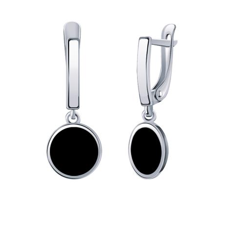 б20619 -Серьги из белого золота с круглыми подвесками с черной эмалью