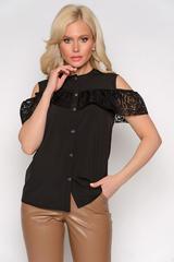 <p>Отличный летний вариант!Рубашка с открытым плечом и воланом. По переду пуговицы на планке.Длина по спинке 44р.-50р.=63см.-67см.</p>