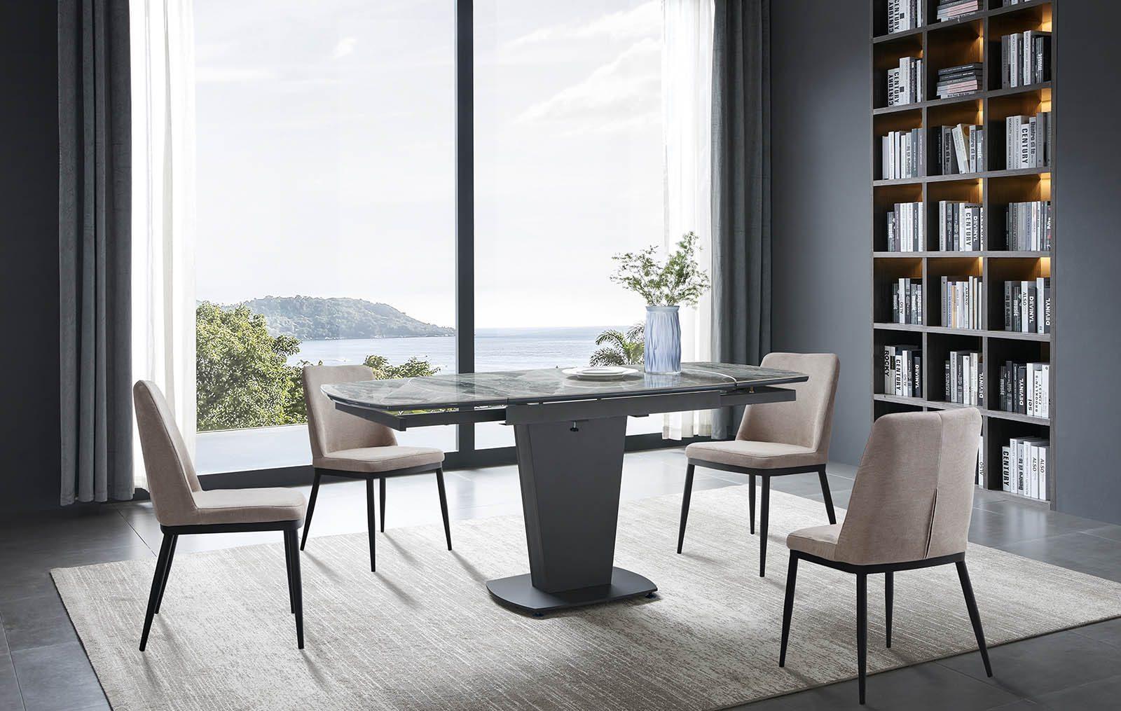 Стол B2417-6 темно-серая керамика и стулья Y249
