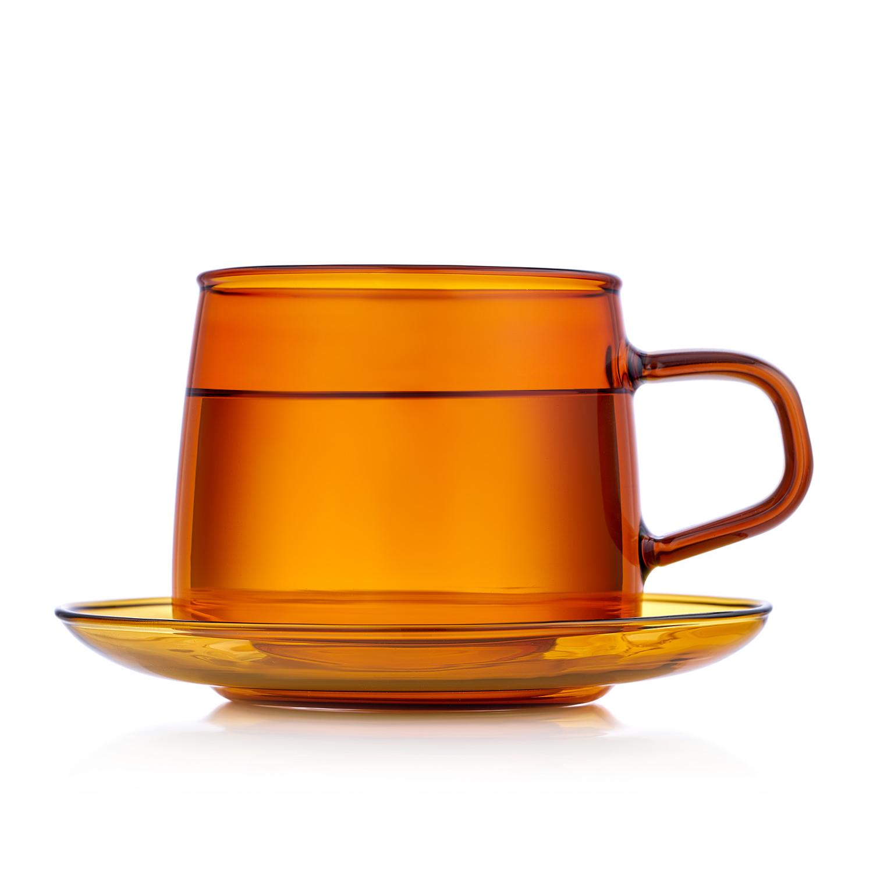 Чайная пара 350 мл, стеклянная кружка с блюдцем янтарная TS_32-1.jpg
